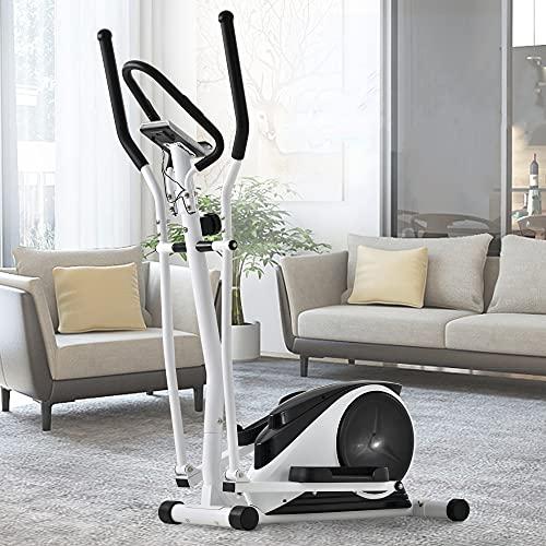 Crosstrainer,Ellipsentrainer mit 8 Stufen Magnetwiderstand, 10 kg Schwungradsystem, LCD-Display und Handyhalterung, Herzfrequenzsensor Bis 120 kg