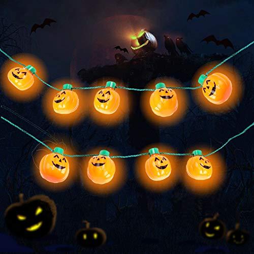 Yansh Halloween Kinder Kürbis Lichterkette, 9 LED Kürbis Halloween Deko 6-Mode Halloween Kürbis Halskette Jack O Laterne Halskette Halloween Deko für Garten (Orange)
