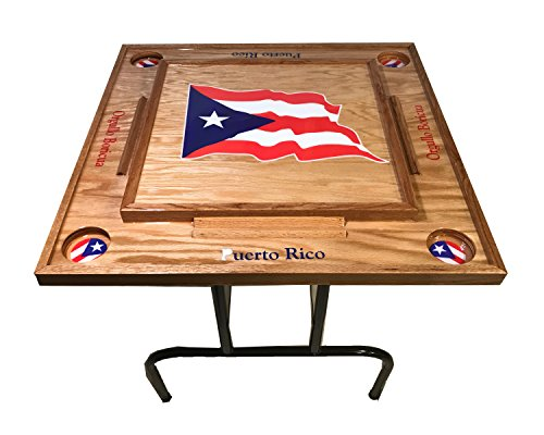 latinos r us Puerto Rico Domino Table with The Flag