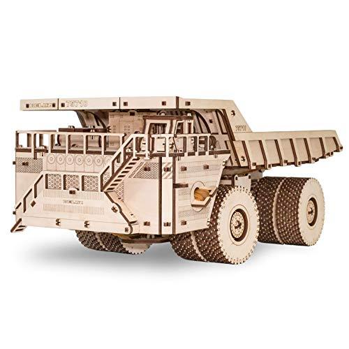 EWA Eco-Wood-Art Camión 75710-Rompecabezas mecánico 3D de Madera-Rompecabezas para Adultos y Adolescentes-Montaje sin pegamento-453 Piezas, Color Naturaleza (BELAZ 75710)