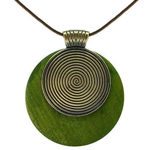 SoulCats® Halskette Spirale Holz Leder grün schwarz braun Natur naturell, Farbe:grün