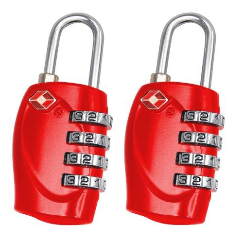 TRIXES x 2 Lucchetto di sicurezza a 4 combinazioni per valigia approvato dalla TSA - rosso