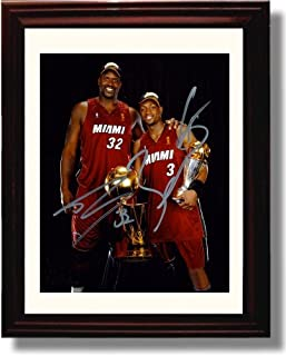Framed Shaquille O'Neal and Dwayne Wade Autograph Replica Print - Miami Heat