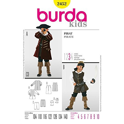Burda 2452 Schnittmuster KostŸm Fasching Karneval Pirat (Kids, Gr, 104-140) Level 3 mittel