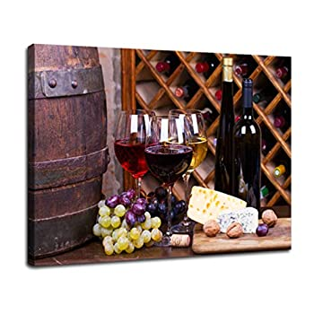 Wine Decor Kitchen Wall Art - Kitchen Counter Decor Wine - Wine Glass Pictures Print on Canvas,Red Wine Grape Picture Decorations Kitchen Walls with Frame Easy Hang 16 x12