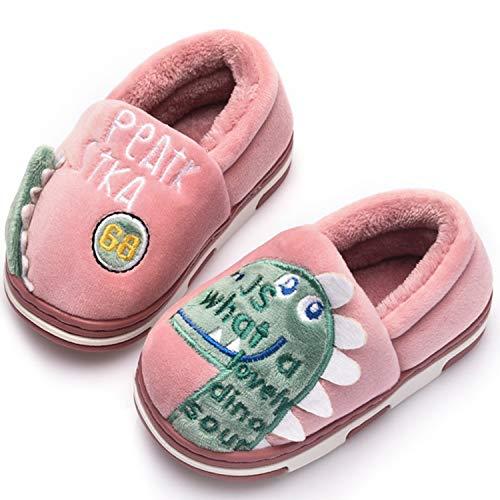 Pantofole Inverno Ragazzi Ragazze Scarpe di Cotone Bambini Peluche Antiscivolo Home Caldo Ciabatte Slipper Invernali Rosso 16/17=23-24EU