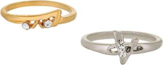 Women's Rhodium and Gold Plated Swarovski Crystal 2 Piece Ring Set - Size 6