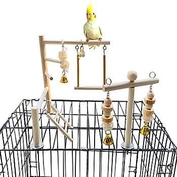 PINVNBY Aire de jeu pour oiseaux - Perchoirs en bois - Échelles - Jouet d'escalade pour cage à oiseaux - Accessoires pour petits cacatoès, calopsittes, inséparables