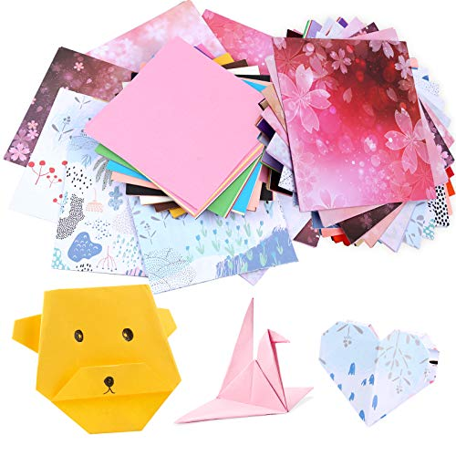 400 Pcs Origami Paper, 300 Pcs Colorful Origami Sheets and 100 Pcs Flower Pattern Craft Folding Paper, Double Sided Origami Sheets, Oragami Paper Packs for Kids, Adults, Beginners(6x6 Inches)