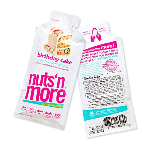 Nuts 'N More Birthday Cake Peanut Spread, Keto, High Protein Nut Butter Snack, Low Carb, Low Sugar, Gluten-Free, All Natural, 10-Pack Snack Size