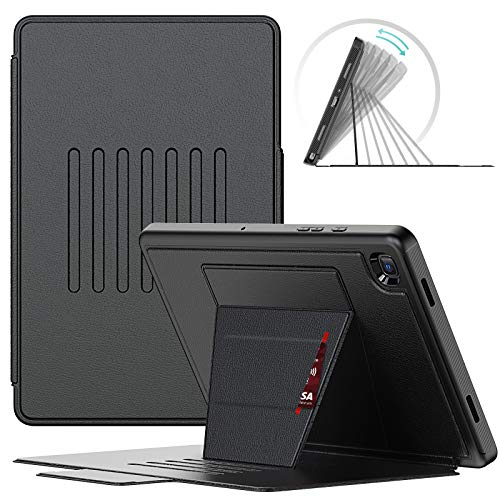SEYMAC Slim, Shockproof, Full Body Protective Case for Samsung Galaxy Tab A7 10.4 Inch (SM-T500/T505/T507) with 7-angle Robust Stand, Auto Sleep/Wake Magnetic Smart Cover, Card Slot-Black