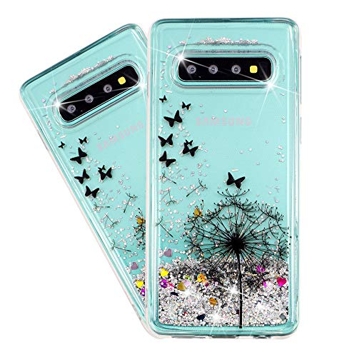 HMTECHUS Case for Galaxy S10+ for Girl Glitter Liquid Sparkle Floating Shiny Quicksand Clear Soft TPU Silicone Shockproof Protective Bumper Thin Cover for Samsung Galaxy S10 Plus Bling Dandelion XY