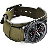 Hepsun Compatible with Samsung Galaxy Watch 46mm/Watch 3 45mm/Gear S3 Frontier/Classic/Pebble Time/Garmin Vivoactive 4/Fossil Q/TicWatch Pro 2020/3 GPS Bands, 22mm Vintage Genuine Leather Cuff Band Strap for Men Women (Army Green)