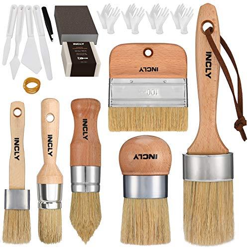 INCLY 6 PCS Chalk & Wax Paint Brush Set for Painting Furniture,Milk Paint, Home DIY Decor, Kit with Bristle Soap,Gloves Sanding Block