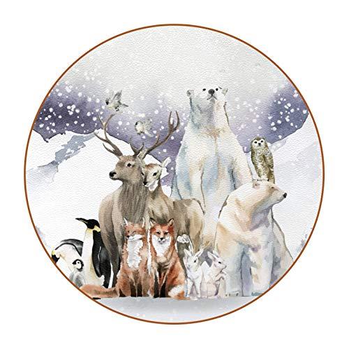 6 posavasos antideslizantes resistentes al calor decorativos para el hogar, posavasos redondos para tazas, tazas, vasos, bosques de invierno, animal, oso de zorro, pingüino