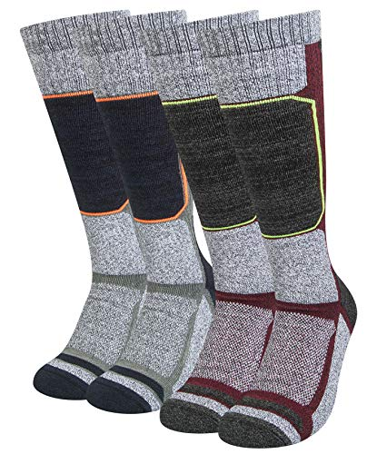 2 Packs Ski Socks Mens Women, Snowboard Socks Men for Cold Weather, Skiing, Winter Sports, Outdoor Recreation (pale grey, Size M, fits 6-9 in)