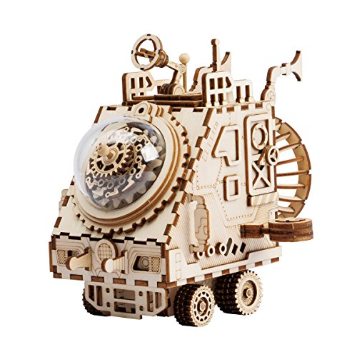 ROKR Wooden Hand Crank Music Box Machinarium-DIY Model Kits-Creative Robot Toy-3d Wooden Puzzle Building Kit-Best Christmas/Birthday for Women,Boys and Girls