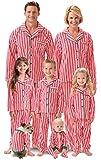 PajamaGram Matching Family Christmas Pajamas - Candy Cane Fleece, Red, Kids, 8