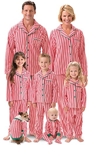 PajamaGram Matching Family Christmas Pajamas - Candy Cane Fleece, Red, Pets, MD