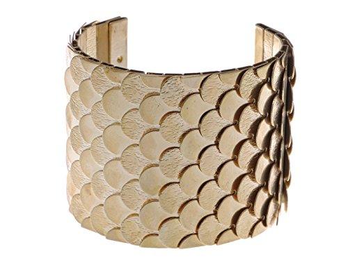 Alilang gouden tint Egyptische geëtste gestructureerde weegschaal uitgeboogde wrap armketting armband