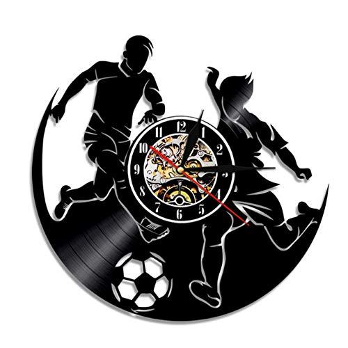 Reloj de Pared de Vinilo Juego de Deporte de fútbol Vintage Retroiluminación 3D Relojes de luz Nocturna para Decorativos DIY Vinyl Record Clock-7 Luces de Color