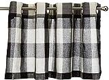 Lorraine Home Fashions 09570-V-00146 BLACK Courtyard Grommet Window Curtain Valance, Black/Off White, 53' X 18'