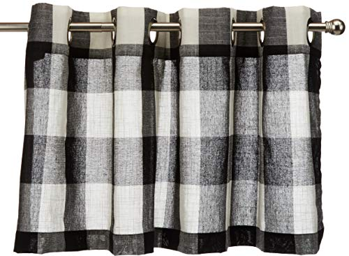 "Lorraine Home Fashions 09570-V-00146 BLACK Courtyard Grommet Window Curtain Valance, Black/Off White, 53"" X 18"""