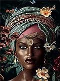Lovmo Mujer Africana Cuadrado Diamante 5D DIY Pintura de Diamante, Bordado, Punto de Cruz, Decoración del hogar 3D(Cuadrado 50x60cm)