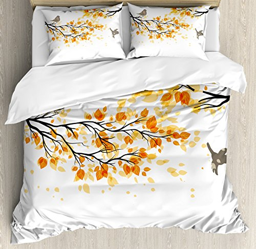 Ambesonne Fall Duvet Cover Set, Branch with Pale Fall Leaves and Birds Natural Change in Season Summertime Print, Decorative 3 Piece Bedding Set with 2 Pillow Shams, Queen Size, Yellow Cream