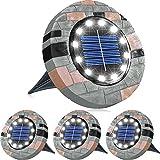 Biling Solar Bodenleuchten,12 LEDS Solarleuchten für Außen Resin Solarlampen Gartenleuchten, IP65 Wasserdichte Scheibenleuchten für Rasen,Patio, Garten,Auffahrt,Gehweg-Weiß (4 Stück) …