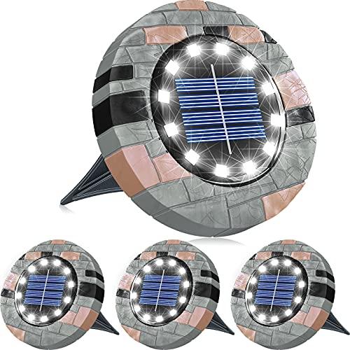 Biling 12 LEDs Luce Solare da Giardino, Luci da Giardino Solari Luminose per Esterni, Luci a Disco Solari Impermeabili per Prato, Giardino e Passerella-Bianca(4 Pack)