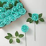 YYHMKB Flor de Rosa Artificial 25 Piezas de Forma Falsa Cabeza de Rosa con Vapor para Bricolaje Ramos de Boda Arreglo de Fiesta Decoración del hogar Verde Azulado
