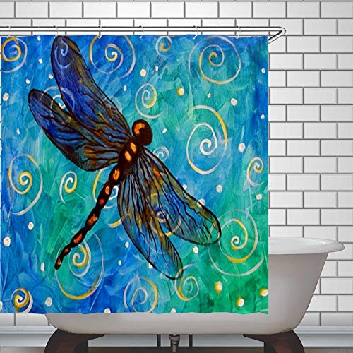 N/ A Dragonfly - Cortina de ducha, impermeable, diseño de libélula, color azul y verde