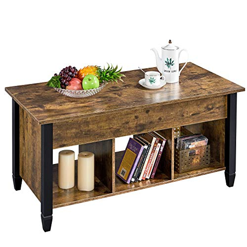 YAHEETECH Lift Top Coffee Table with Hidden Compartment - Occasional Table Pop-Up Table for Living Room, Rustic Brown