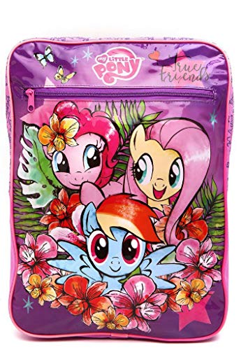 """""""Mochila 11147 My Little Pony em Poliéster, Alças, Puxadores Personalizados, Compartimento Externo, Rosa e Roxo - DMW"""""""