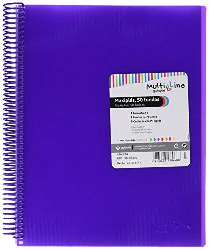 Grafoplás 39835335 - Carpeta de 50 fundas A4 - Con gomas y espiral, color violeta