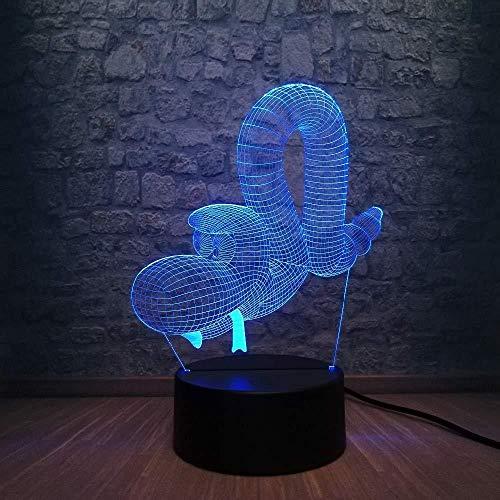 Luz de la noche Creativo animal serpiente globo forma 3D luz USB Led ilusión noche luz diseño niños dormitorio decoración lámpara niños gif