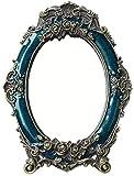 Espejo de maquillaje GCX Boda del Regalo del Espejo Rojo Novia Retro Escritorio Espejo de Vestir Princesa exótica del Viento Moda (Color : Blue, Size : 18 * 24cm)