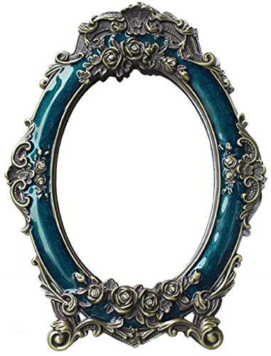 Miroir de maquillage LHY de Mariage Miroir Cadeau Rouge rétro Jeune mariée Bureau Princesse Miroir Vent Exotique Habiller La Mode (Color : Blue, Size : 18 * 24cm)