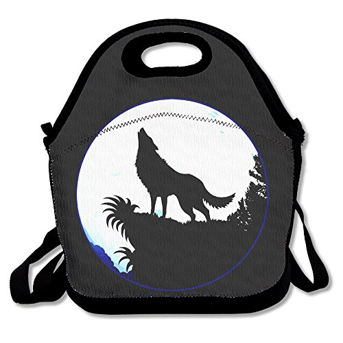 ScutLunb Lunch Bag Wolf Moon Lunch Tote Lunch Box For Women Men Kids With Adjustable Strap