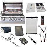 Lion Premium Grills 32-Inch Natural Gas Grill L75000 with Lion Single Side Burner and Eco Friendly Lion Refrigerator with 5 in 1 BBQ Tool Set Best of Backyard Gourmet Package Deal