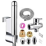 Pulverizador para bidé de mano Equipo, Ducha Enema con 3 cabeza de ducha de aluminio para limpieza del sistema de ducha colónica (Plata)