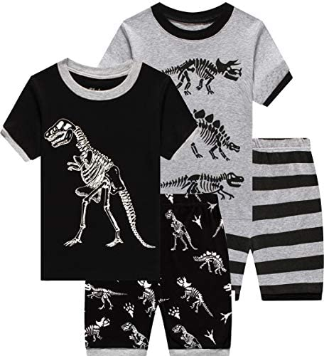 4 Pieces Pajamas For Boys Baby Grow In The Dark Dinosaur Clothes Summer Toddler Kids Short Pj product image