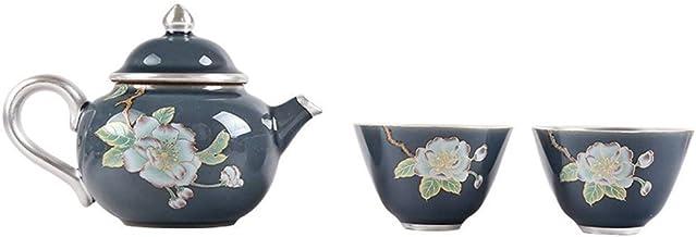 Zestaw mieszkanie leżący na kwiatie ręcznie wykonany ceramiczny kubek podróżny garnek dwa kubki quik (kolor: pełny księżyc)
