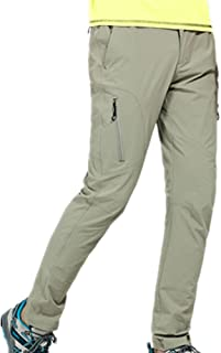 Thin and Elastic Waterproof Pants Hiking Pants for Outdoor Sport Men's Khaki Quick Dry Pants (Size : XL)