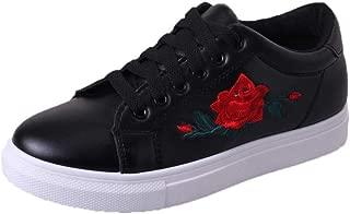 YOKOZU Women Straps Sports Running Sneakers Embroidery Flower Breathable Anti-Slip Round Toe Walking Shoes