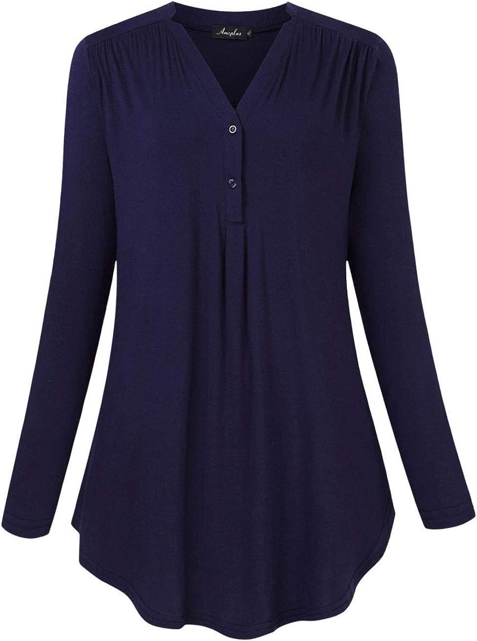 AMZ PLUS National uniform free shipping Women's Plus Size Loose Stretch Blouse Long Sleeve Time sale Henl