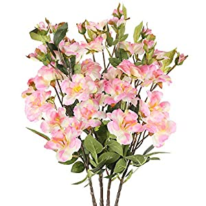NAHUAA 4PCS Silk Cherry Blossom Branches Pink Fake Floral Bundles Long Stem Artificial Flowers Arrangement for Home Kitchen Indoor Outdoor Wedding Table Centerpieces Spring Decoration