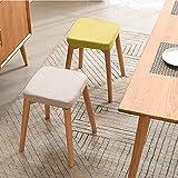 Avior Home quadratische Sitzhocker, Holzhocker Polsterhocker, gepolstertes Fußhocker für Zuhause (Grau)