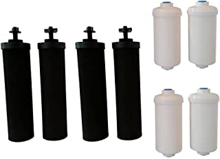 Four Black Berkey (BB9) Replacement Filters & Four Berkey Fluoride Water Filters (PF2)
